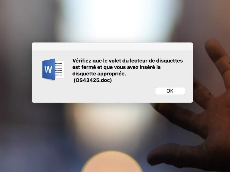 Word imagine toujours que vous utilisez un lecteur de disquettes