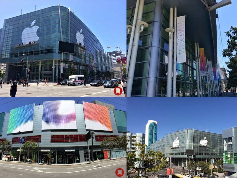 Le Moscone Center est habillé pour la WWDC