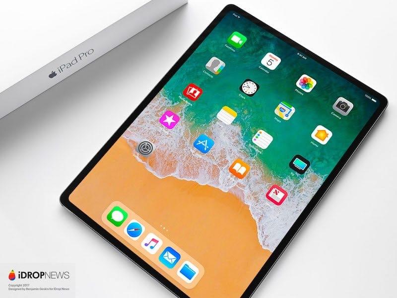 Une idée d'un iPad Pro 2018 avec moins de bordures (et pas d'encoche)