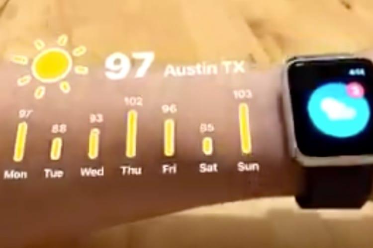 video en galerie : Avec ARKit 2, l'Apple Watch affiche des infos en dehors de son écran