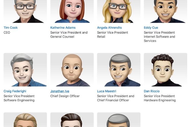 Tous les dirigeants d'Apple remplacés par leur memoji