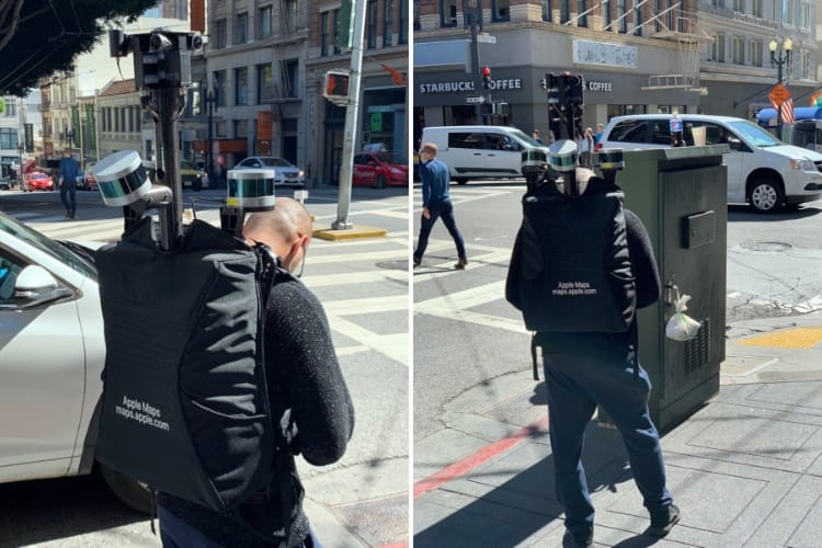 image en galerie : Un employé d'Apple dans la nature avec un sac à dos LIDAR pour Plans