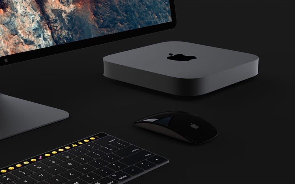 Ce Mac mini gris sidéral avec un clavier Touch Bar et un nouvel écran Apple a de l