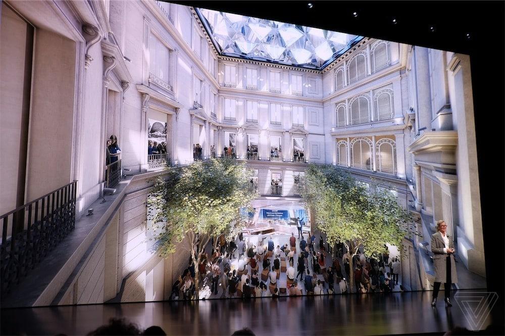 Une belle vue intérieure de l'Apple Store des Champs-Elysées