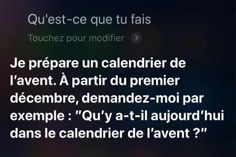 Pour Noël, Siri prépare un calendrier de l'Avent