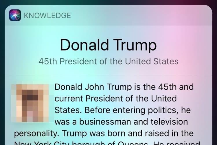 image en galerie : Pour Siri, Donald Trump est un zizi 😅