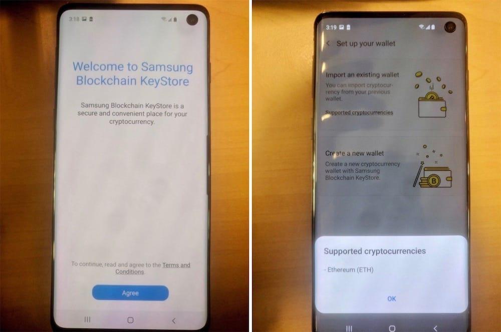 Un trou et un portefeuille de cryptomonnaies dans le Galaxy S10